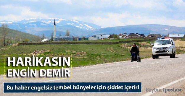 Tekerlekli sandalyeyle 23 kilometre yaptı