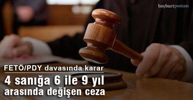 4 sanığa 6 ile 9 yıl arasında değişen hapis cezası
