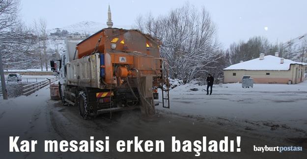 Bayburt'ta kar mesaisi
