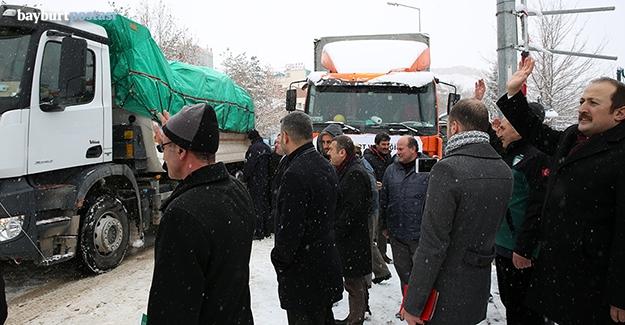 Bayburt'tan toplanan yardımlar Suriye'ye yola çıktı