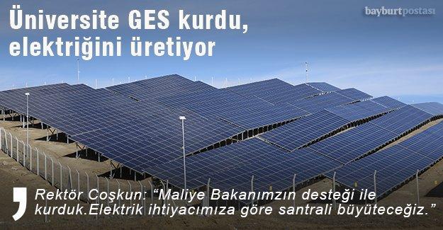 Bayburt Üniversitesi GES kurdu, elektriğini üretiyor