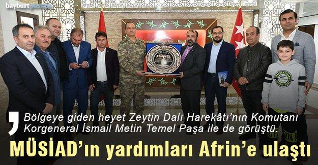 MÜSİAD Bayburt Şubesi'nin yardımları Afrin'e ulaştı