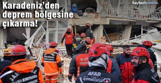 Karadeniz'den Elazığ'a ekip ve yardım desteği