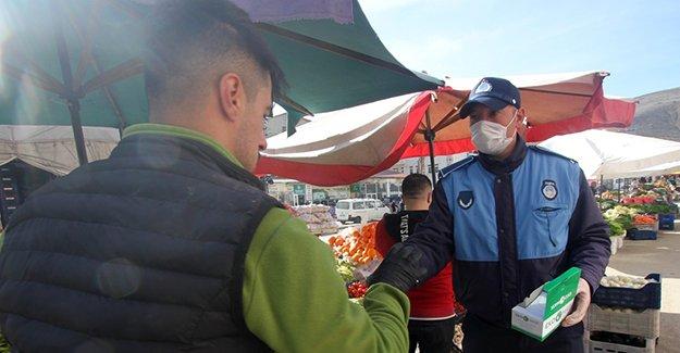Bayburt'ta Halk Pazarına 'coronavirüs' önlemleri