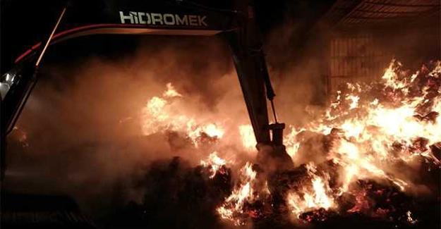 Kavacık köyünde ot hangarı yandı