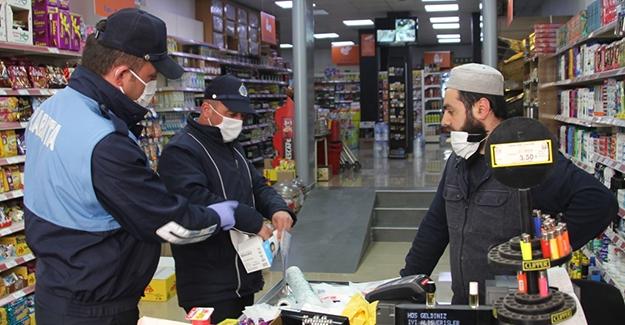 Belediyeden marketlere maske desteği