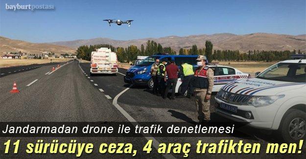 Jandarmadan drone ile trafik denetlemesi
