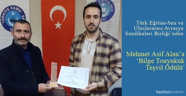Mehmet Asif Alan'a 'Bilge Tonyukuk Teşvik Ödülü'