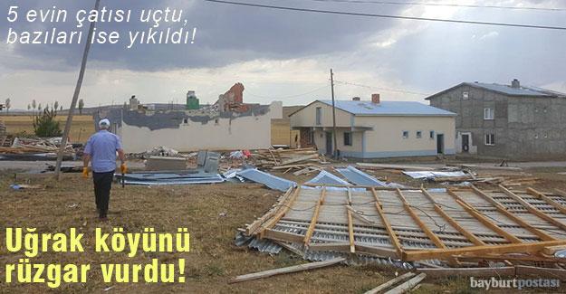 Uğrak köyünü şiddetli rüzgar vurdu!