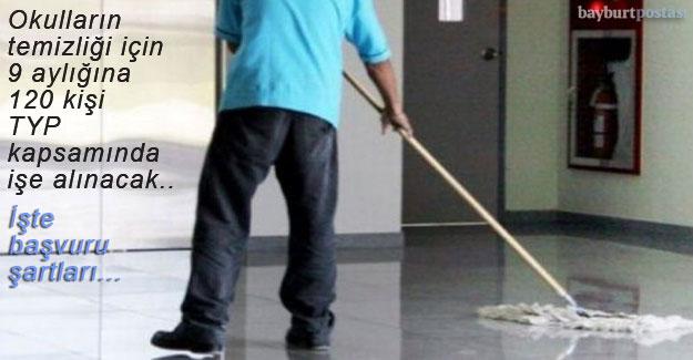 Bayburt'ta okulların temizliği için 120 kişi işe alınacak
