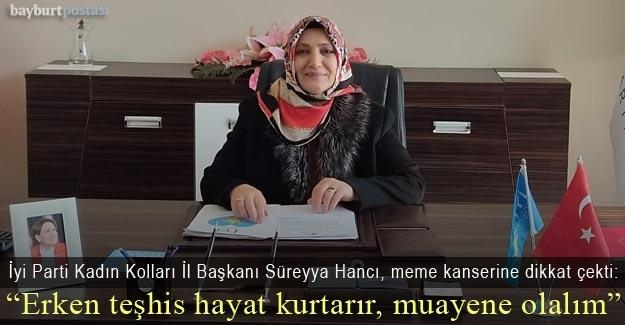 Süreyya Hancı, meme kanserine dikkat çekti