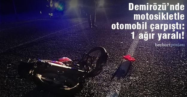 Demirözü'ndeki kazada motosiklet sürücüsünün ayağı kırıldı!