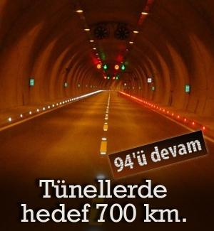 94'ü devam eden tünellerde hedef 700 km.