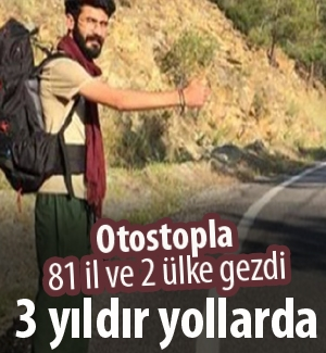 Otostopla 81 il, 2 ülkeyi gezdi