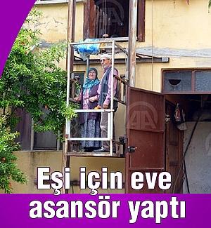 Eşi için kendi imkanlarıyla eve asansör yaptı
