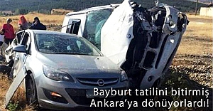 Bayburt'tan dönüşte kaza: 1 Ölü, 3 Yaralı