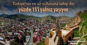 Türkiye'nin en az nüfusuna sahip ilin yüzde 15'i yalnız yaşıyor