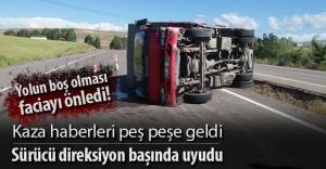 Bayburt'ta bir kaza daha: Sürücü direksiyon başında uyudu