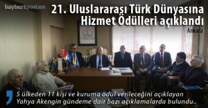 21. Uluslararası Türk Dünyasına Hizmet Ödülleri açıklandı