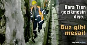 Demiryolu işçilerinin zorlu kış mesaisi