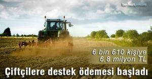 Bayburt çiftçisine 6,8 milyon lira destekleme ödemesi