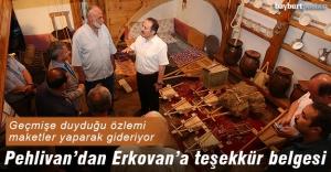 Pehlivan'dan Habip Erkovan'a teşekkür belgesi
