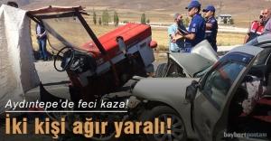 Bayburt'ta otomobil ile traktör çarpıştı: 2 yaralı