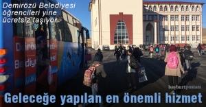 Demirözü Belediyesi, öğrencileri ücretsiz taşıyor