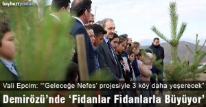 Vali Cüneyt Epcim, Demirözü'nde öğrencilerle fidan dikti