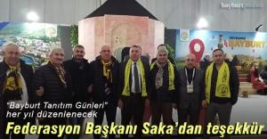 Türkiye Bayburtlular Federasyonu Başkanı Hasan Saka'dan teşekkür