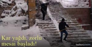 Kar yağdı, zorlu mesai başladı!