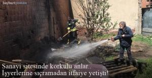 Yangın işyerlerine sıçramadan itfaiye yetişti!