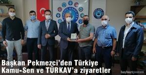 Başkan Pekmezci'den Türkiye Kamu-Sen  ile TÜRKAV'a ziyaret