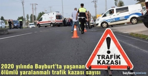 Bayburt'ta meydana gelen ölümlü yaralanmalı trafik kazası sayısı
