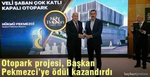 Başkan Pekmezci'ye otopark projesinden dolayı ödül