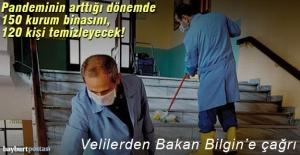 Bayburt'ta, hastalığın arttığı süreçte 150 kurum binasını 120 kişi temizleyecek!