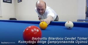 Bayburtlu Bilardocu Cevdet Türker, Kuzeydoğu Bölge Şampiyonası'nda Üçüncü