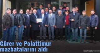Gürer ve Polattimur'a mazbata töreni