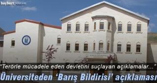 """Bayburt Üniversitesi: """"'Barış Bildirisi' kara propagandanın ürünüdür"""""""